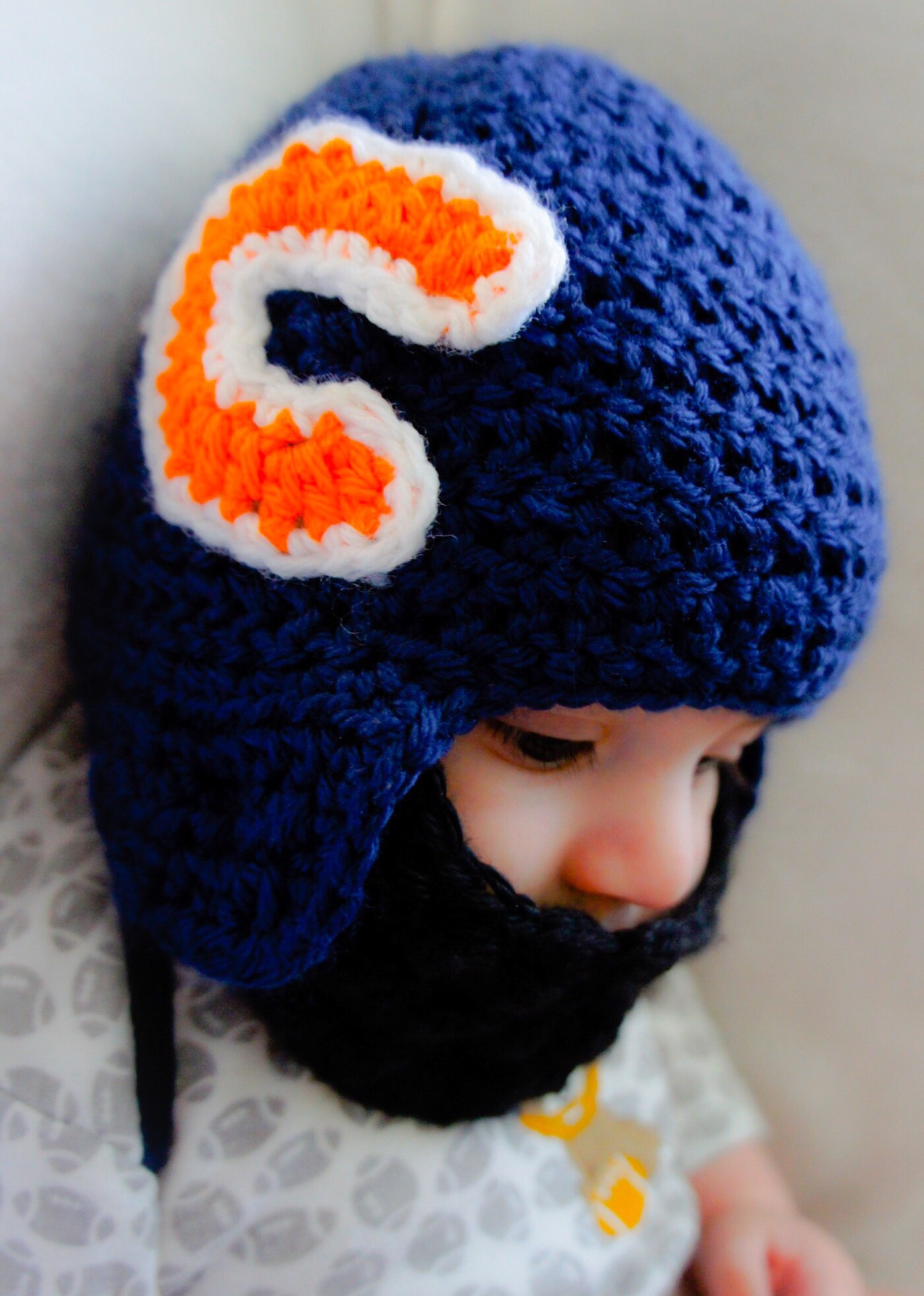 Crochet football bearded helmet chicago bears mama bear mimi crochet bearded football helmet bankloansurffo Choice Image